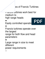 Advantages of Francis Turbines