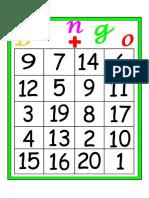 Bingo de Sumas