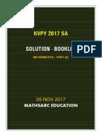 KVPY 2017 SA PART a Solution Booklet