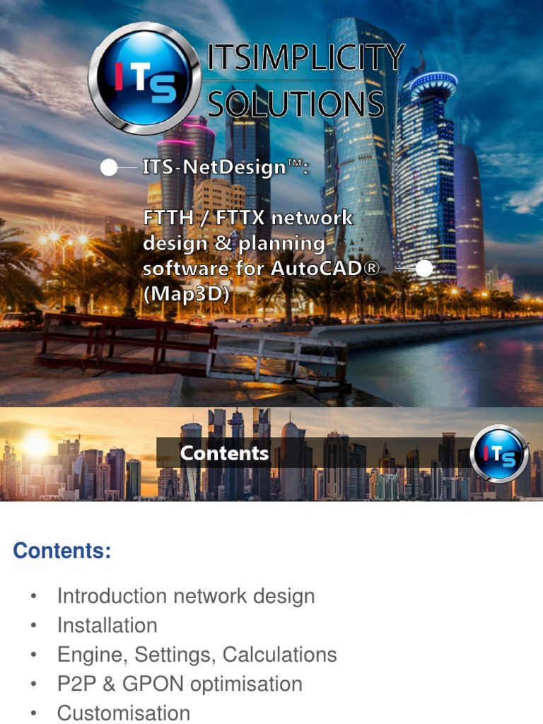 Its Netdesign Ftth Fttb Fttx Network Design Software For Autocad Map3d By Itsimplicity Solutions Fiber To The X Cable Television