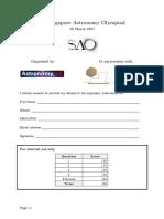 4th SAO (2016) Question Paper