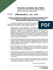 COMUNICADO PNP N° 27 - 2018
