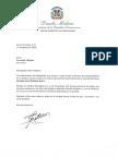 Carta de condolencias del presidente Danilo Medina a Fernando Villalona por fallecimiento de su hermano Sócrates Omar Villalona Évora