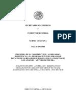 Nmx-c-196-1984 Agregados-resistencia a La Degradacion Por Abrasion e Impacto de Agregado Grueso Maquina de La