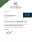 Carta de condolencias del presidente Danilo Medina a María Mercedes Fernández viuda Rosario por fallecimiento de su esposo, Adolfo Rosario Ramos (Don Cindo)