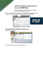 Cara Mengatasi Windows Defender tidak bisa update