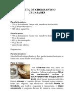 Receta de Croissants o Cruasanes