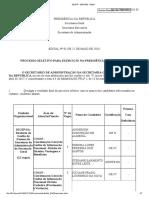 PROCESSO SELETIVO PARA EXERCÍCIO NA PRESIDÊNCIA DA REPÚBLICA edital