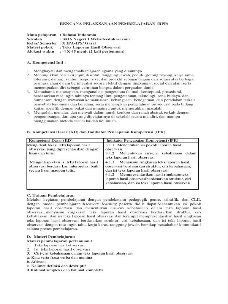 Rpp B Indo Kelas 10 3 1 Rev 2018 Teks Laporan Hasil Obervasi