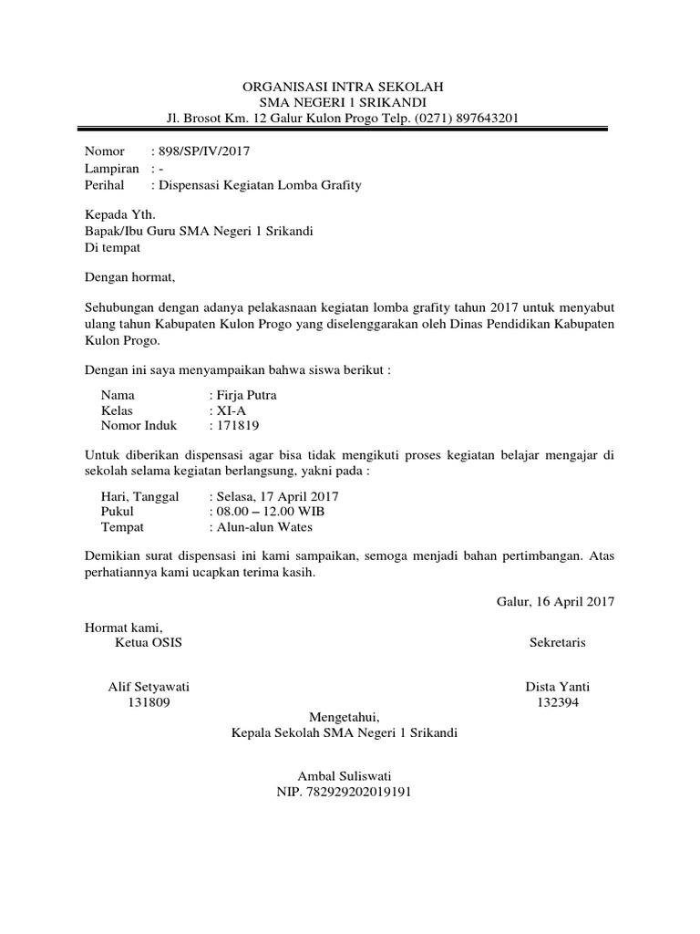 Contoh Surat Dispensasi Untuk Sekolah