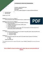 Project in Intermediate Computer Programming