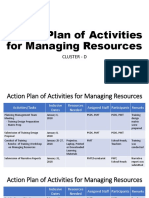 Action Plan of Activities for Managing Resources