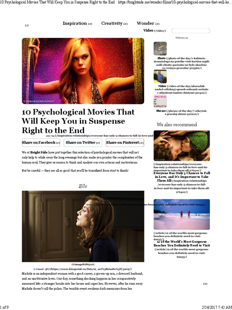 10Psychological Movies That Will Keep You inSuspense Right tothe End