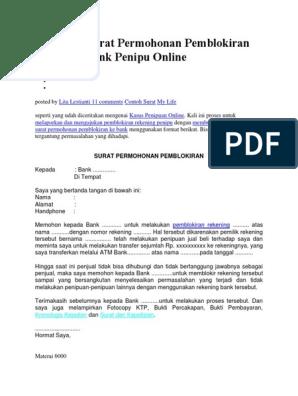 Membuat Surat Permohonan Pemblokiran Rekening Bank Penipu Online
