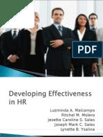 Developing Effectiveness in HR