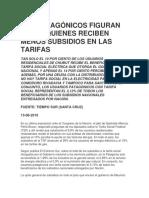 Los Patagónicos Figuran Entre Quienes Reciben Menos Subsidios en Las Tarifas