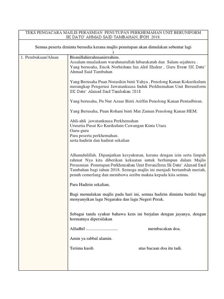 Teks Pengacara Majlis Penutup Perkhemahan Skdast 2018