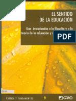 EL SENTIDO DE LA EDUCACIÓN. CARR, D.