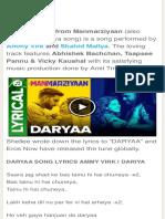 Daryaa Lyrics - (Manmarziyaan) - Ammy Virk Ft. Shahid Mallya Dariya
