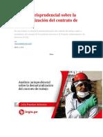 Análisis Jurisprudencial Sobre La Desnaturalización Del Contrato de Trabajo