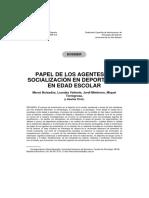 Papel de Los Agentes de Socialización en Deportistas en Edad Escolar