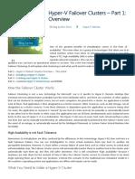 Hyper-V Failover Clusters - Hyper-V Failover Clustering Series - Part 1