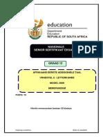 Afrikaans FAL P2 Exemplar Memo