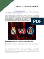 Prediksi Real Madrid vs Getafe 20 Agusutus 2018