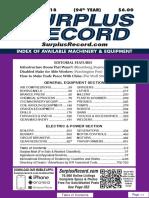SEPTEMBER 2018 Surplus Record Machinery & Equipment Directory