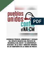 Evidencias técnicas ambientales y sociales del impacto negativo del proyecto de desarrollo del NAICM