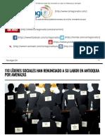 110 Líderes Sociales Han Renunciado a Su Labor en Antioquia Por Amenazas