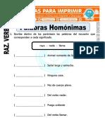 Ficha de Palabras Homonimas Para Segundo de Primaria
