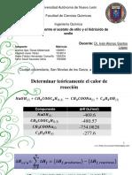 Datos termodinámicos de acetato de etilo y sosa cáustica