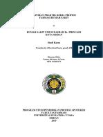 Cover Kasus Laporan Praktik Kerja Profesi Rumah Sakit,YUNIAR SILVIANA S.FARM., APT