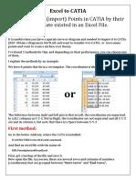 Pasar de Excel a Catia