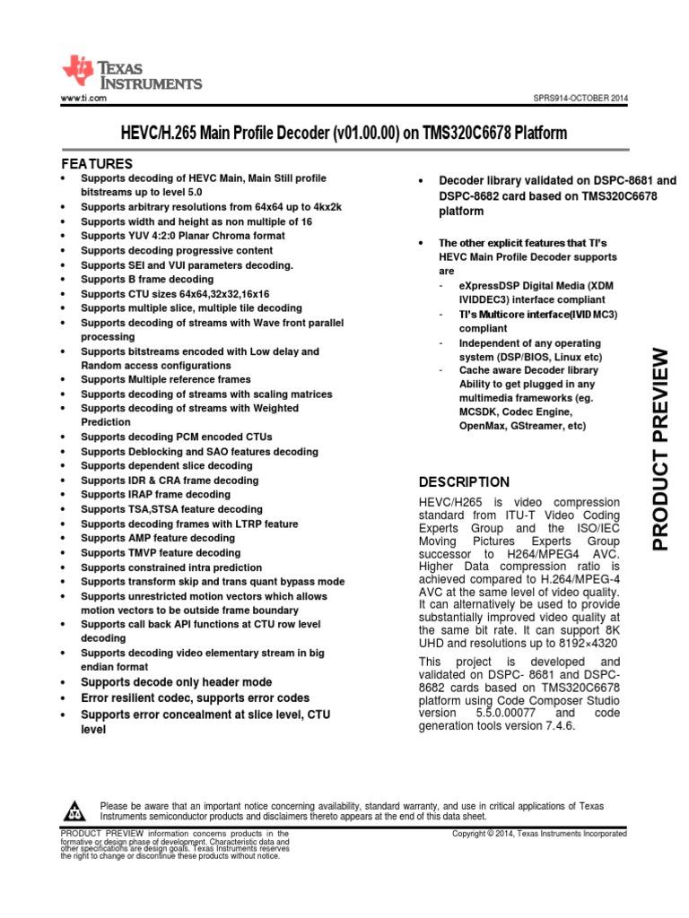 HEVC Decoder C6678 DataSheet | Codec | H 264/Mpeg 4 Avc
