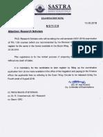 Notice to Ph.D Scholar