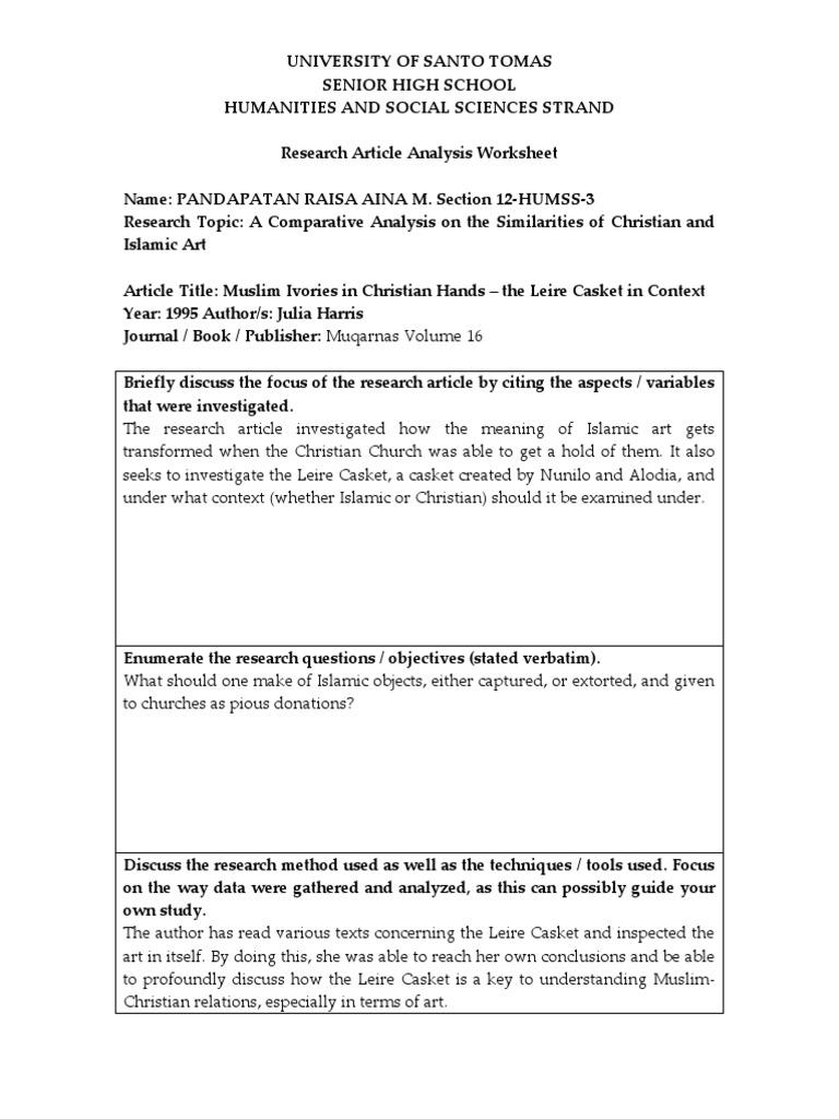 Article Analysis Aina Social Science Academic Publishing