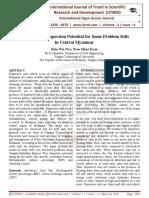 Evaluation of Dispersion Potential for Some Problem Soils in Central Myanmar