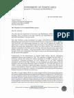 Carta del Departamento de Corrección y Rehabilitación a la Junta