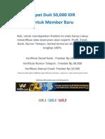 Jakarta Selatan - Taruhan Bola Daftar Gratis Bonus 50ribu Rupiah