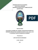 Evaluación económica del sistema de producción orgánica en diferentes años de poda y edades de cafetos en el cantón Taipiplaya