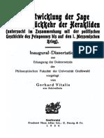 Vitalis, Die Entwicklung der Sage von der Rückkehr der Herakliden (1930)