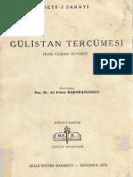 Seyf i Sarayi Gulistan Tercumesi Kitab Gulistan Bi t Turki Haz.ali Fehmi Karamanli