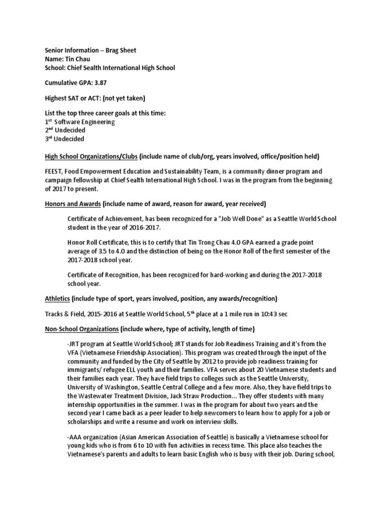 senior brag sheet best   Teachers   Behavior Modification