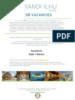 Kandolhu Maldives - Job Vacancies 08162018