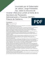 Renuncia de Ricardo Villanueva Lomelí Al Frente de La Secretaría de Planeación, Administración y Finanzas