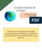 Noções básicas de ecologia para Gestão Ambiental