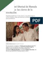 TC Ordenó Libertad de Humala y Heredia