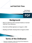Earned Paid Sick Time Presentation